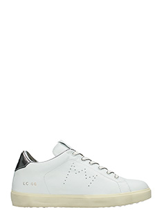 Leather Crown-Sneakers Low in pelle bianca acciaio