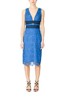 Diane Von Furstenberg-Vestito Viera Lavce in pizzo blue