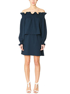 Diane Von Furstenberg-Vestito Georgie in stretch piqu� blue