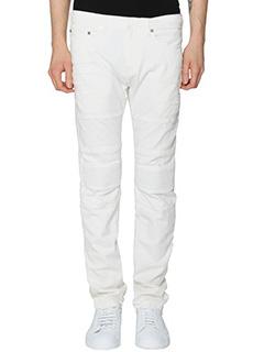 Neil Barrett-Jeans Biker in denim bianco