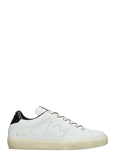 Leather Crown-Sneakers Low in pelle bianca nera