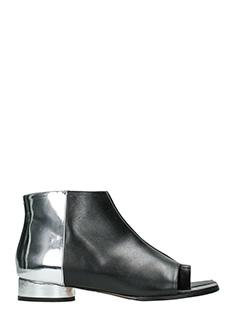 Maison Margiela-Tronchetti Tabi in pelle argento nera
