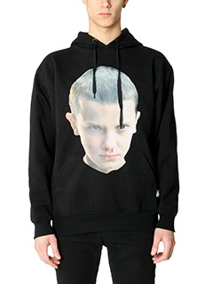 IH NOM UH NIT-Printed black cotton sweatshirt