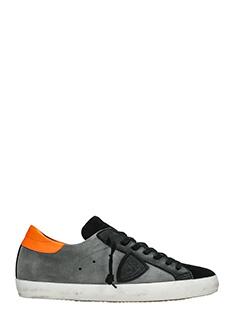 Philippe Model-Sneakers Classic in pelle  e camoscio grigio nero-lacci