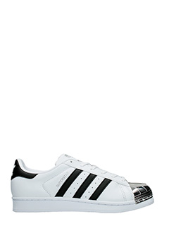 Adidas-Sneakers Superstar Metal Toe in pelle bianca nera