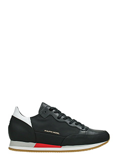 Philippe Model-Sneakers Bright in pelle e camoscio nero