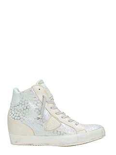 Philippe Model-Sneakers Piaf High in pelle a pois argento bianca