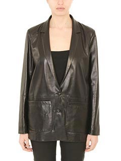 Drome-black leather outerwear