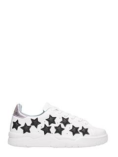 Chiara Ferragni-Sneakers Stelle  in pelle bianca