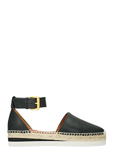 See by Chlo�-Sunset black leather espadrilles