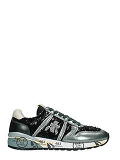 Premiata-Sneakers Diane in pelle e tessuto nero argento-paillettes