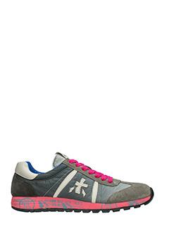 Premiata-Sneakers Lucy  in pelle e camoscio grigio rosa