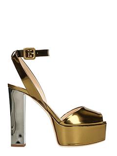 Giuseppe Zanotti-Sandali Betty in pelle specchiata oro-cinturino alla caviglia