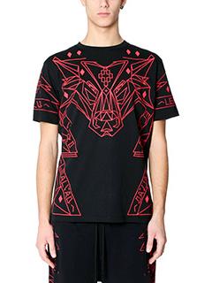 Marcelo Burlon-T-Shirt Lamborghini in cotone nero e rosso