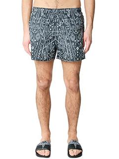 Marcelo Burlon-Shorts Salomon in nylon nero bianco