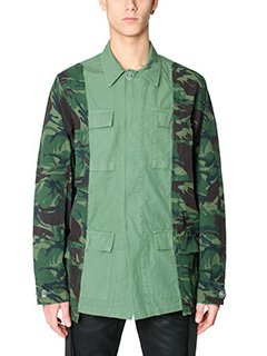 Off White-Giacca Field Jacket in cotone verde camouflage