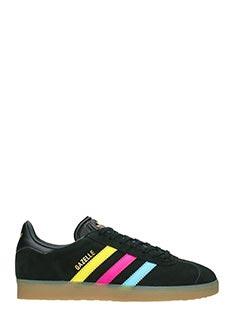 Adidas-Sneakers Gazelle in pelle e camoscio nero