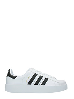 Adidas-Sneakers Superstar Bold in pelle bianca nera