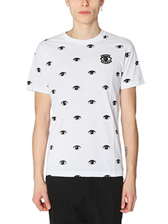 Kenzo-T-Shirt Eyes All Over in cotone bianco