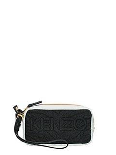 Kenzo-Pochette Kombo in tessuto nero bianco