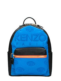Kenzo-Zaino Kombo Backpack in denim e pelle blue nero arancione
