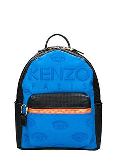 Kenzo-Zaino Kombo Backpack in denim e pelle blue nero arancione