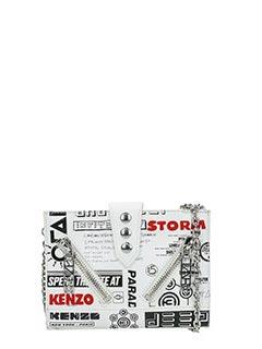 Kenzo-Pochette Kalifornia X Flyer  in pelle bianca