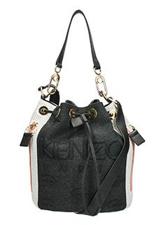 Kenzo-Borsa Kombo Bucket Bag in tessuto nero bianco