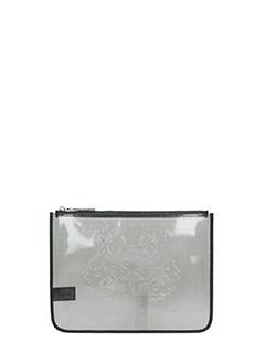 Kenzo-Pochette A5 Metallic Tiger Clutch in pvc trasparente nero