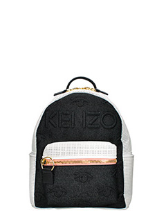 Kenzo-Zaino Kombo Backpack in denim e pelle nero bianco rosa