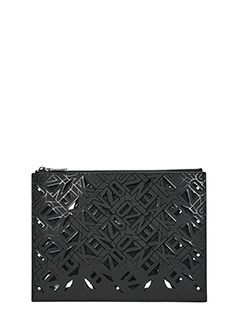 Kenzo-Pochette Flying Kenzo Clutch in pelle nera. chiusura con zip.Altezza 22 cm
