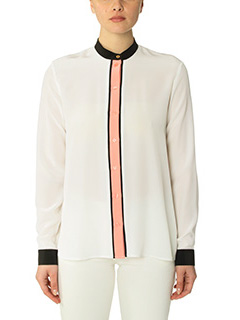 Kenzo-Camicia Color Block in seta bianca