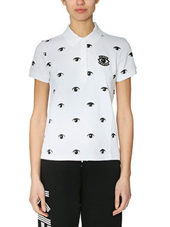 Kenzo-Polo All Over Eyes in cotone bianco
