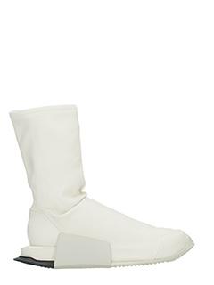 Rick Owens For Adidas-Sneakers  Runner Hi in pelle milk