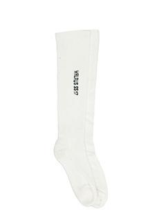 Rick Owens-Calzini High Socks in cotone bianco