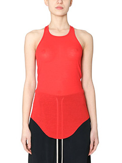 Rick Owens-Top Basic Rib Tank in cotone rosso
