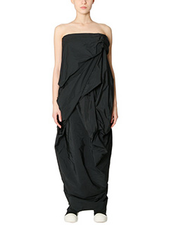 Rick Owens-Vestito Tangle Gown in cotone e nylon nero