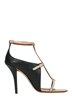 Givenchy-Sandali Strap in pelle nera bianca