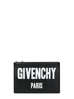 Givenchy-Pochette Pouch Givenchy Paris in pelle nera