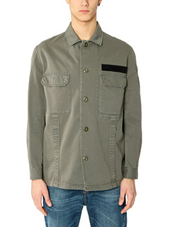 Golden Goose Deluxe Brand-Camicia Military Shirt in cotone verde