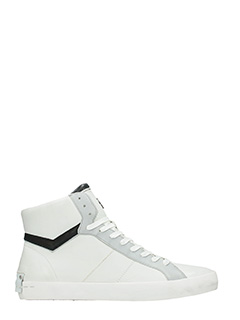 Crime-Sneakers high in pelle bianca