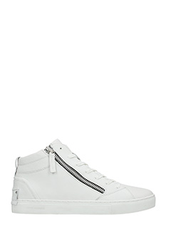 Crime-Sneakers mid in pelle bianca