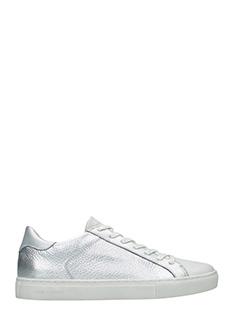 Crime-Sneakers in pelle martellata argento e bianca