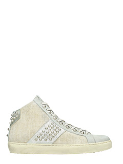 Leather Crown-Sneakers High Studs in camoscio grigio beige