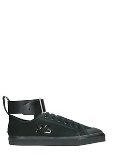 Adidas By Raf Simons-Spirit buckle  black canvas sneakers
