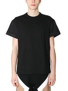 Neil Barrett-T-Shirt in cotone bimateriale nero-girocollo