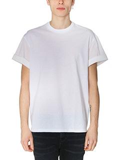 Neil Barrett-T-Shirt in cotone bimateriale bianco-girocollo