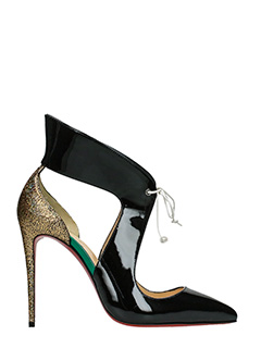 Christian Louboutin-Ferme rouge black patent leather sandals