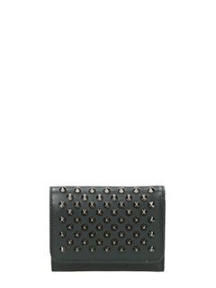 Christian Louboutin-Portafoglio Macaron Continental Wallet Mini  in pelle nera