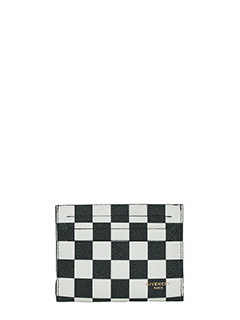 Givenchy-Portacarte Chess Double 3 cc in pelle bianca e nera